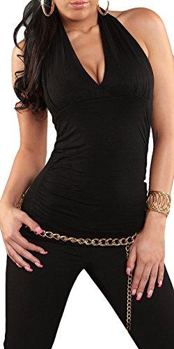 Damen NeckTop, Neckholder Oberteil mit V Ausschnitt, in vielen Trendfarben erhältlich, Einheitsgröße (34-38)