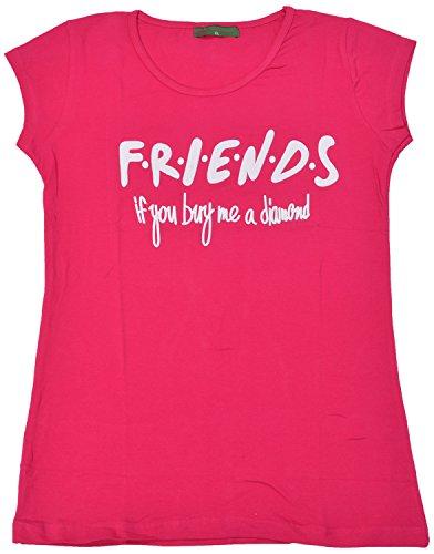 Miss Kapachi Women's Regular Fit T-Shirt (Pink, XL)