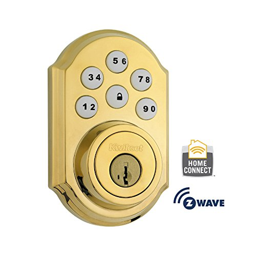 Kwikset 910 Z-Wave SmartCode Electronic Deadbolt featuring SmartKey in Lifetime Polished Brass (Wifi Door Handle compare prices)