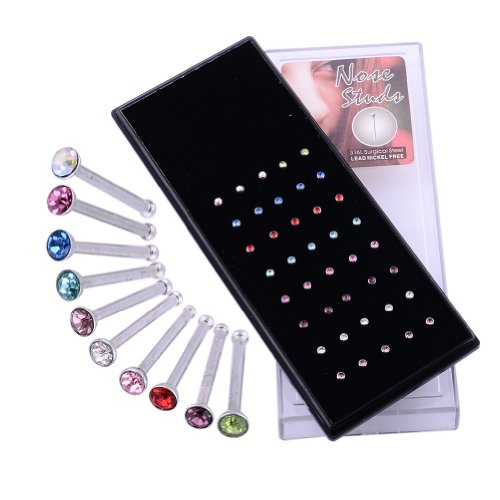Kadima Body Piercing Jewelry 40 pc/Box 20G Surgical Stainless Steel Nose Ring Stud with Round Gems