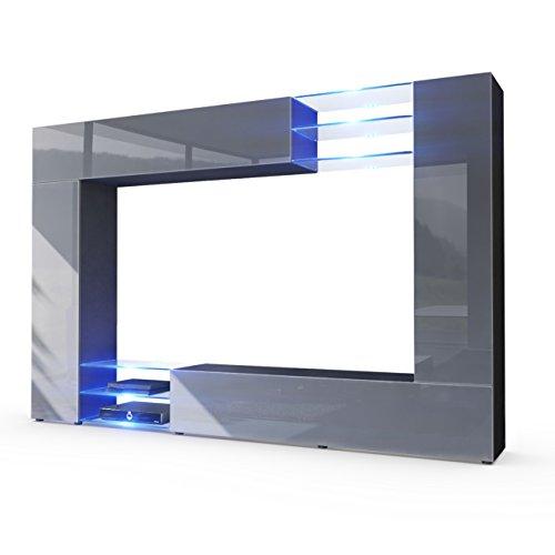 Wohnwand-Anbauwand-Mirage-Korpus-in-Schwarz-matt-Fronten-in-Grau-Hochglanz-inkl-LED-Beleuchtung