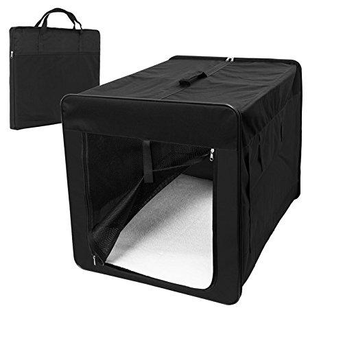 ECD-Germany-Klappbare-Transportbox-fr-Hund-und-Katze-L-760-x-560-x-610-mm-inkl-Polster-aus-Lammfellimitat-Schwarz-Hundebox-Hundetransportbox-Autobox-Transporthtte