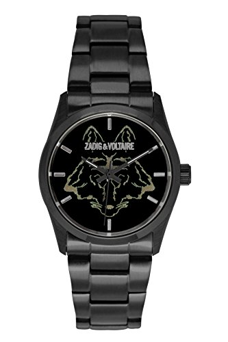 Zadig Voltaire ZV &001L 3EM-Rock/Unisex Watch Analogue Quartz Black Dial Steel Strap Black Plated