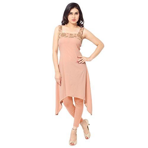 ZIYAA-Peach-Color-Sleeveless-And-Square-Neck-Faux-Crepe-Net-Kurti