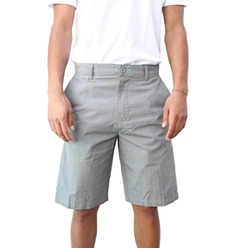 Burnside Mens Collide Chino Flat Front Short (34, Grey)