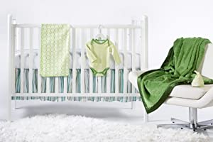 SwaddleDesigns 6 Piece Newborn Crib Bedding Set with Crib Skirt with Cozy Blanket for Parents, Pure Green, 0-3 Months