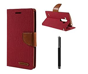 Relax And Shop Quality Flip Cover With Stylus Pen For LENOVO A6000- (Pink Flip+ Colors May Vary In Stylus)