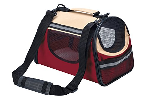 BINGPET Personalized Soft Sided Cat Dog Pet Carrier Travel Tote Bag Wine red & Beige Large