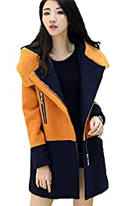 Welity Women's Zip Up Color Block Wollen Hoodie Parka Long Coat Orange
