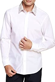 Autograph Pure Cotton Floral Collar Slim Fit Shirt [T25-3768A-S]