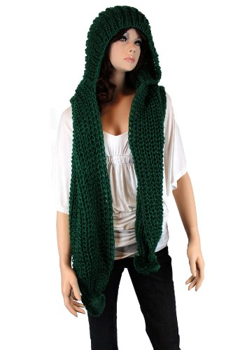 Fashion Dimensions Knitted Scoodie Scarf In Green