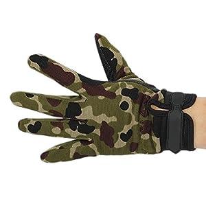 EJY Unisex Militaire Combat Tactique Airsoft Camping Tir Sport Nylon Gants d'entraînement Combat Doigts Complet Camouflage (Camouflage, L)