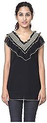 Izna Women's Slim Fit Top (IDWT107BLK-XX-Large, Black, XX-Large)