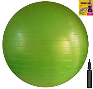 Fitness Ball: Green, 26in/65cm Diameter, Includes 1 Ball +1 Pump + 1 Page Instruction Chart. No instructional DVD. (Exercise Gym Swiss Stability Ball)