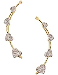 Zeneme Heart Shaped Gold Plated American Diamond Ear Cuff Earring Jewellery For Women / Girls