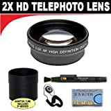 2x Digital Telephoto Professional Series Lens + Lens Adapter Tube (If Needed) + Lenspen + Lens Cap Keeper + Smart Shop UK Micro Fiber Cloth For The Canon EOS Rebel T2i (EOS 550D) Digital SLR Camera Which Has Any Of These (18-55mm, 75-300mm, 50mm 1.4 , 55
