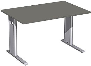Scrivania fisso, C-Mascherina Optional, 1200x 800x 720, grafite/argento, Gera mobili