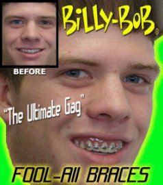 Billy Bob Braces Teeth Ugly Betty Novelty April Fools Gag Joke
