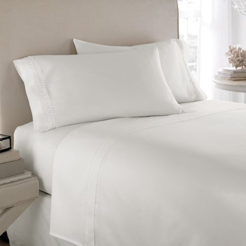 """800 Tc Solid 1Pc Fitted Sheet + 2 Pillow Cases White Color Queen Size Fits Mattress Upto 23"""" Deep front-796317"""