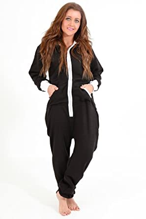 Juicy Trendz Ladies Women's One Zip Onesie Hoodie Hoody Jumpsuit Playsuit Tracksuit Color=Black, Size=Small