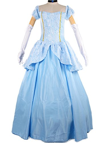 Princess Cinderella Costume Women Adult Cosplay Halloween Fancy Dress L Blue