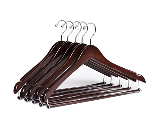 Quality Hangers Wooden Hangers Beautiful Sturdy Suit Coat Hangers with Locking Bar Mahogany (5) (Suit Hanger With Locking Bar compare prices)