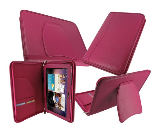 rooCASE Executive Portfolio (Magenta) Leather Case Cover with Landscape / Portrait View for Samsung GALAXY Tab 10.1 Wi-Fi (NOT Compatible with Verizon 4G LTE)