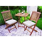 Outdoor Interiors Eucalyptus 3 Piece Square Bistro Outdoor Furniture Set - includes cushions