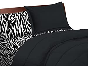 5 Piece Zebra Animal Print Twin Extra Long Bedding Set By Twin XL