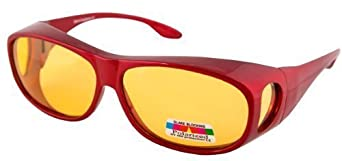 OPTICAID POLARISED NIGHT DRIVING SPORTS OVER GLASSES DESIGNED TO BE WORN OVER PRESCRIPTION GLASSES METALLIC RED FRAME