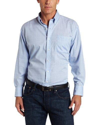 Nautica Men's Glen Plaid Button Down Dress Shirt, Blue, 16H 4/5