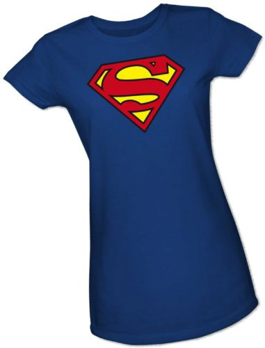 Superman Classic Shield Crop Sleeve Fitted Juniors T-Shirt