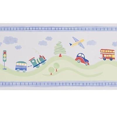 Zoffany Border Wallpaper - Toot Town Blue from Zoffany