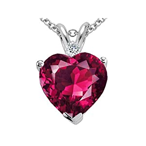 2.02 cttw Created Ruby and Genuine Diamond Heart Pendant in 14k White Gold