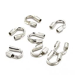 Pandahall 100pcs 0.5mm Brass Wire Guardians & Wire Protectors Wire Terminators (Silver)