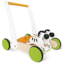 Hape -  Galloping Zebra Cart Wooden Push and Pull Toy