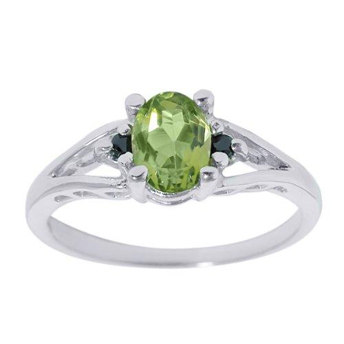 0.80 Ct Oval Green Peridot & Black Diamonds Silver Ring