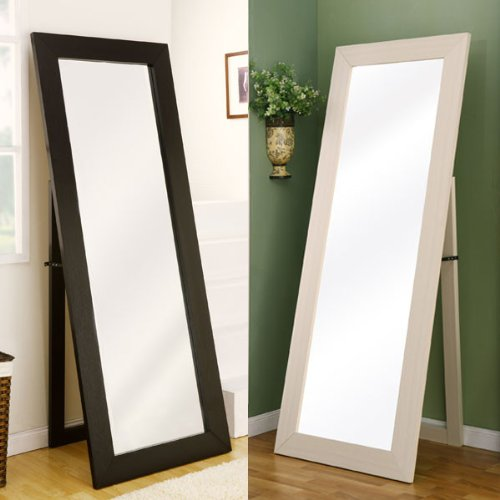 Toby contemporary style white finsh floor mirror home decor for Black framed floor mirror