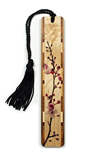 Cherry Blossom- Branch in Color Wooden Bookmark on Maple with Black Tassel