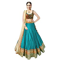 A HUGE DEMANDEBLE FIROZI COLOURED BEAUTY QUEEN LBANGLORY SILK LEHENGA CHOLI WITH STONE WORK