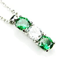 CZ-Column Necklace, Emerald-Colored & Diamond-Colored CZs, 18""