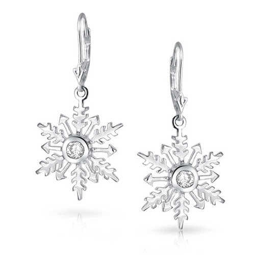 Bling Jewelry CZ Solitaire Round Snowflake Drop Earrings Sterling Silver
