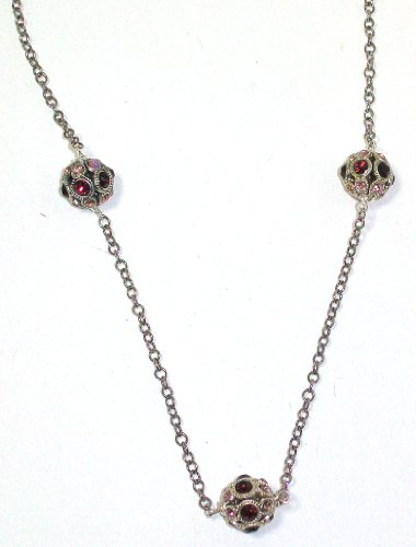 Pearlstone Sterling Silver Plated Vintage Inspired Pave Crystal Ball Strand Necklace With 3 Burgundy and Pink Swarovski Crystals