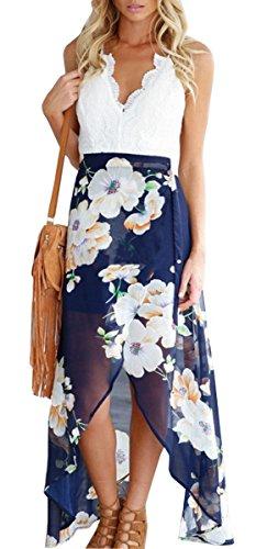 Fancyinn® Women V-neck Lace Patchwork Irregular Hem Casual Chiffon Dress Blue S