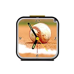 Home Decor Personalized Baseball Alarm Clock as a Nice Gift Black 3.27inch