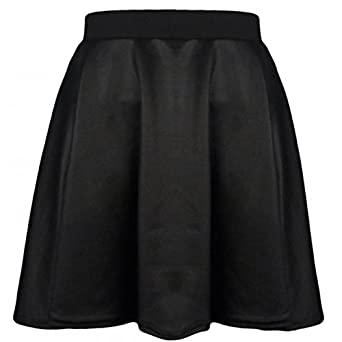 ENVY BOUTIQUE LADIES PVC WET LEATHER LOOK FLARED SKATER SKIRT BLACK SM