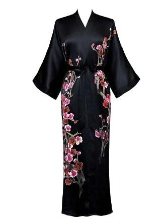 Old Shanghai Women's Silk Kimono- Handpainted (Long) - Cherry Blossom Black