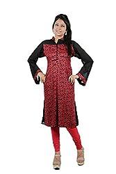Kittus Fashion House Women's Poly Rayon Straight Kurti (Kskrt-1072_Red_Large)