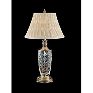 Dale Tiffany GT80543 Crystal Table Lamp, Antique Gold and Fabric Shade