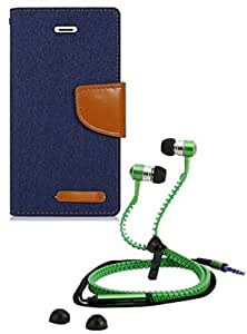 Aart Fancy Wallet Dairy Jeans Flip Case Cover for Apple6G (NavyBlue) + Zipper Earphones/Hands free With Mic *Stylish Design* for all Mobiles- computers & laptops By Aart Store.